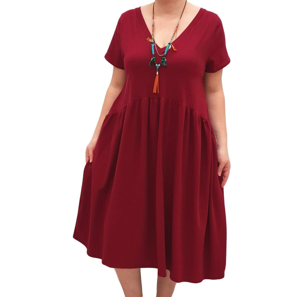 V-neck Swing Dress  Baggy  Jersey Stretchy Boho 2 Pockets Lagenlook Plus Size [L1058_WINE] - size 16 18 20 22 24 26 28 30 32 34 36 38 40 42 Wolfairy