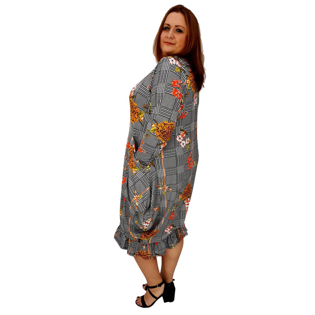 62962bc2743 Asymmetric Dress Frilll Loose Pockets Long Sleeve Floral Lagenlook Plus Size   L1043 YELLOW  dress Wolfairy