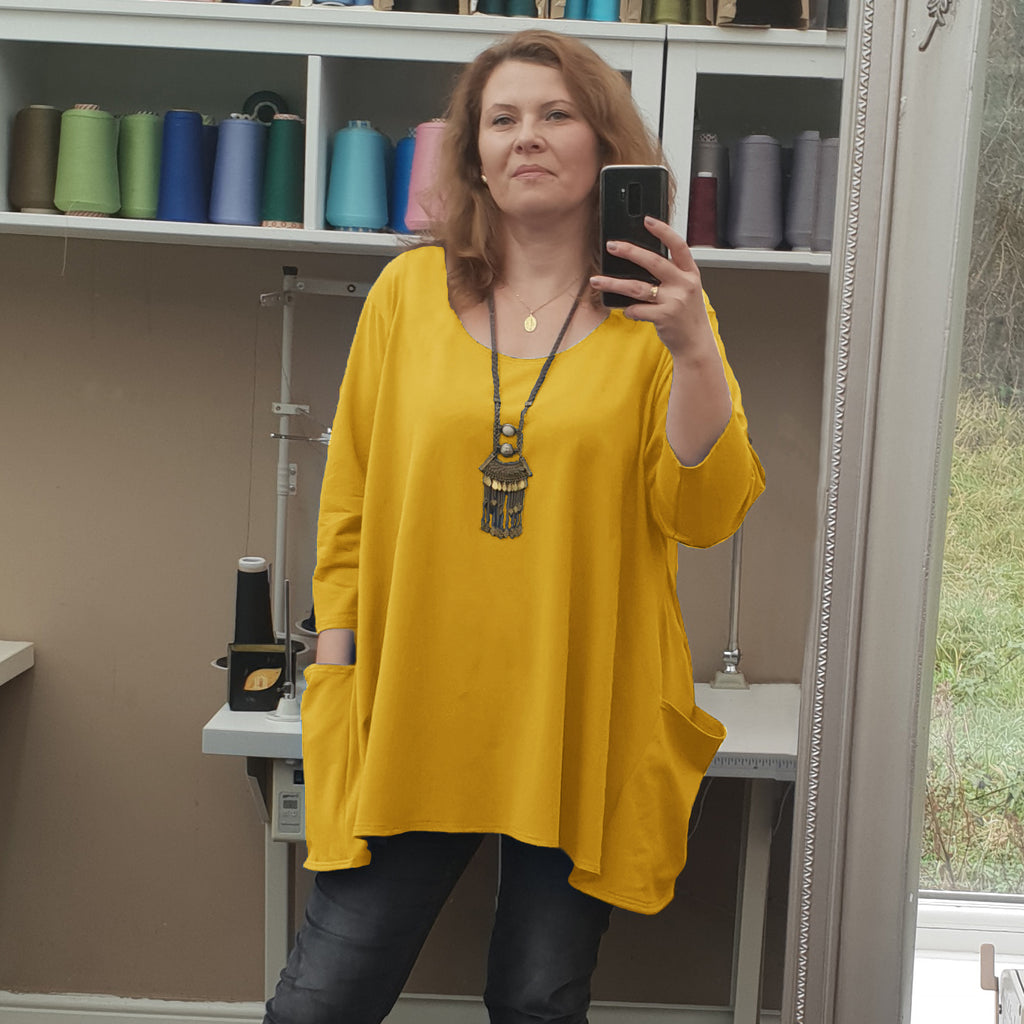 PLUS SIZE COTTON BAGGY TOP LONGER TUNIC 3/4 SLEEVE [L1217_YELLOW]