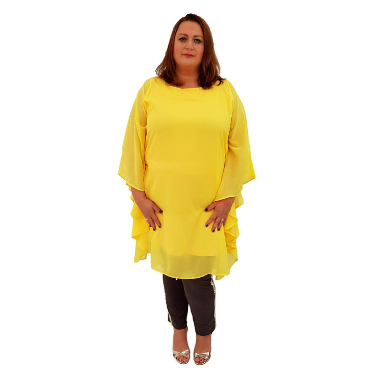 Airy Dress Loose Batwing Sleeve Lagenlook Plus Size [L468_YELLOW] dress Wolfairy