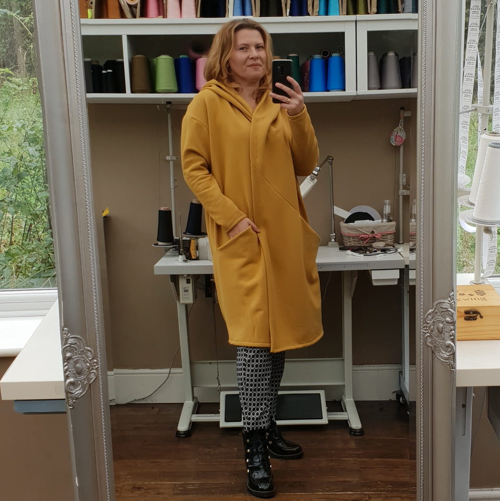 Women's Plus Size Fleeced French Terry Cotton Cardigan Coat  [L1195_YELLOW]