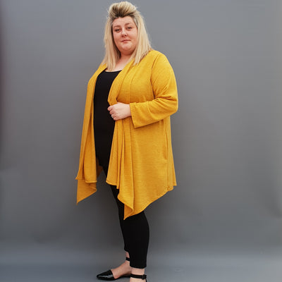 Womens plus size cardigan long sleeves open front handkerchief hem  [L1115_YELLOW] - size 16 18 20 22 24 26 28 30 32 34 36 38 40 42 Wolfairy