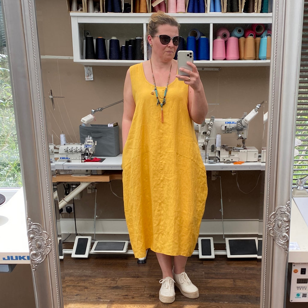 Plus Size Summer Linen Sleeveless Dress Calf-Length [L1161_YELLOW]