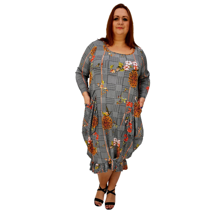 Asymmetric Dress Frilll Loose Pockets Long Sleeve Floral Lagenlook Plus Size [L1043_YELLOW] - size 16 18 20 22 24 26 28 30 32 34 36 38 40 42 Wolfairy