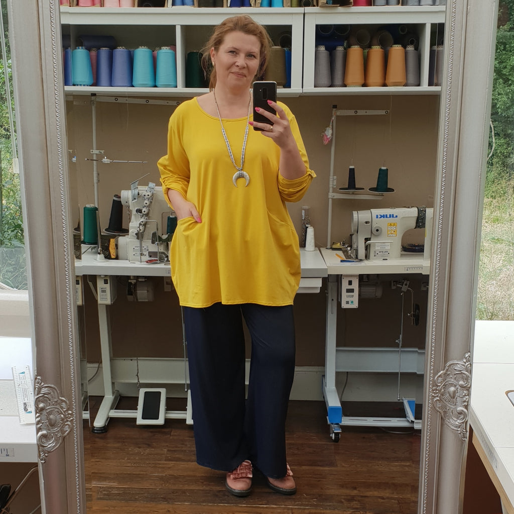 PLUS SIZE COTTON BAGGY TOP LONGER TUNIC LONG SLEEVE ( folded ) [L1166_YELLOW]