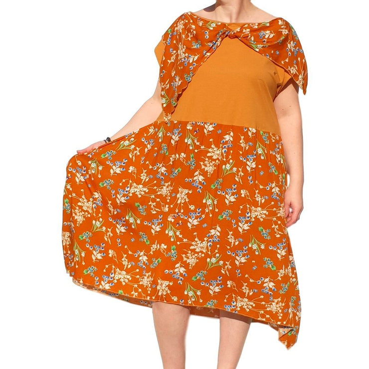 Dress  Sleeveless Boho Beach Holiday Floral Airy Lagenlook Plus Size [L1056_YELLOW] - size 16 18 20 22 24 26 28 30 32 34 36 38 40 42 Wolfairy