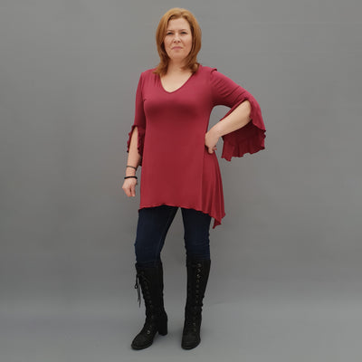 Wolfairy Plus Size V-neck Ruffle Top Tunic [L1124_BURGUNDY]