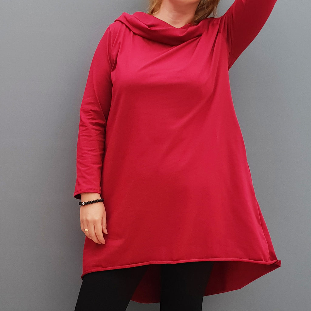 Womens plus size cotton a line tunic top plain lagenlook loose long sleeve [L1090_WINE]
