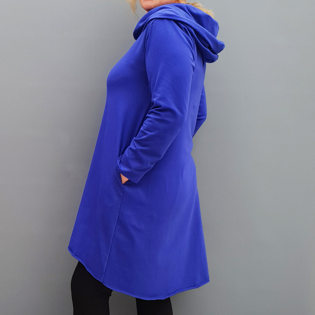 Womens plus size cotton a line tunic top plain lagenlook loose long sleeve [L1090_ROYALBLUE]