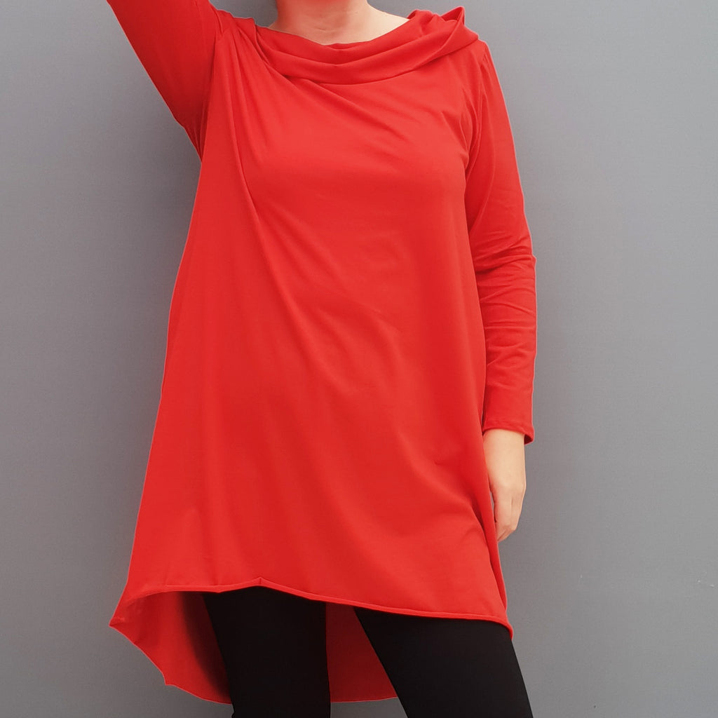Womens plus size cotton a line tunic top plain lagenlook loose long sleeve [L1090_RED]