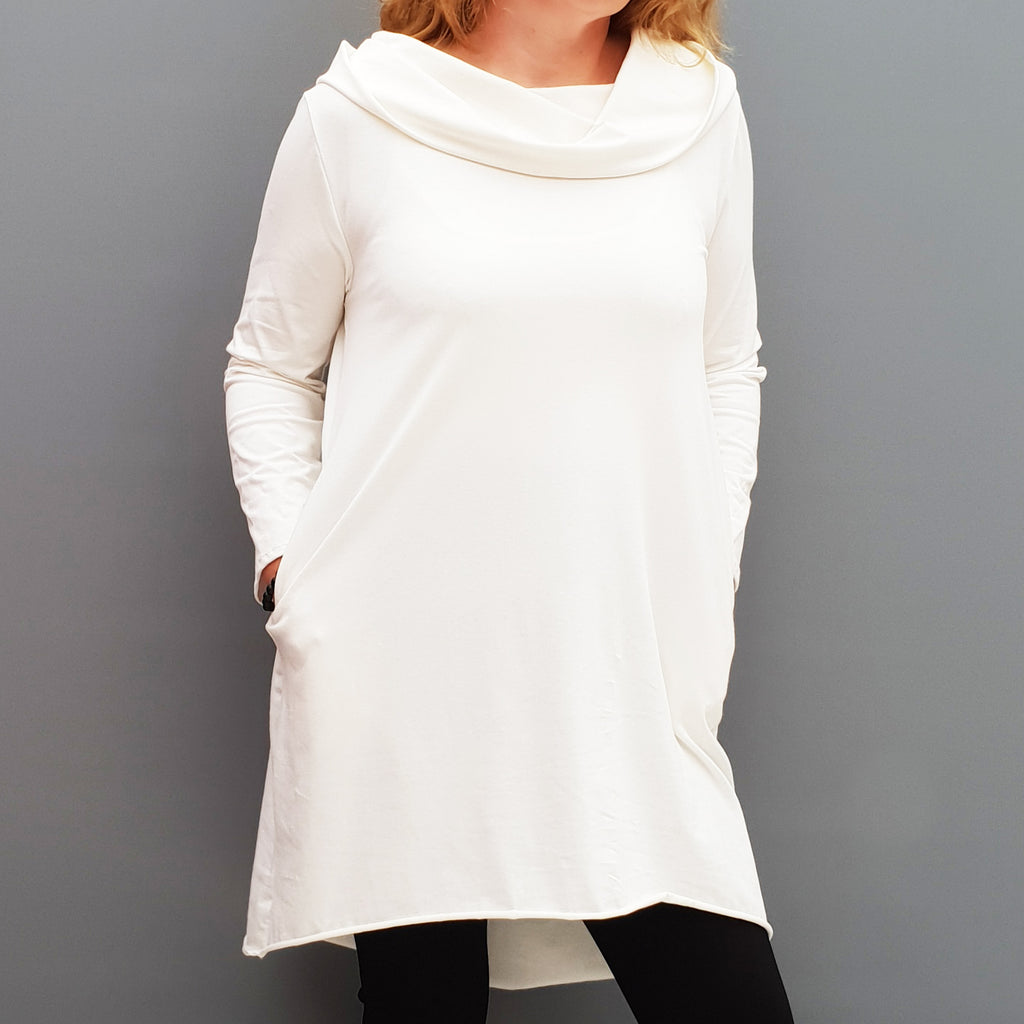 Womens plus size cotton a line tunic top plain lagenlook loose long sleeve [L1090_IVORY]