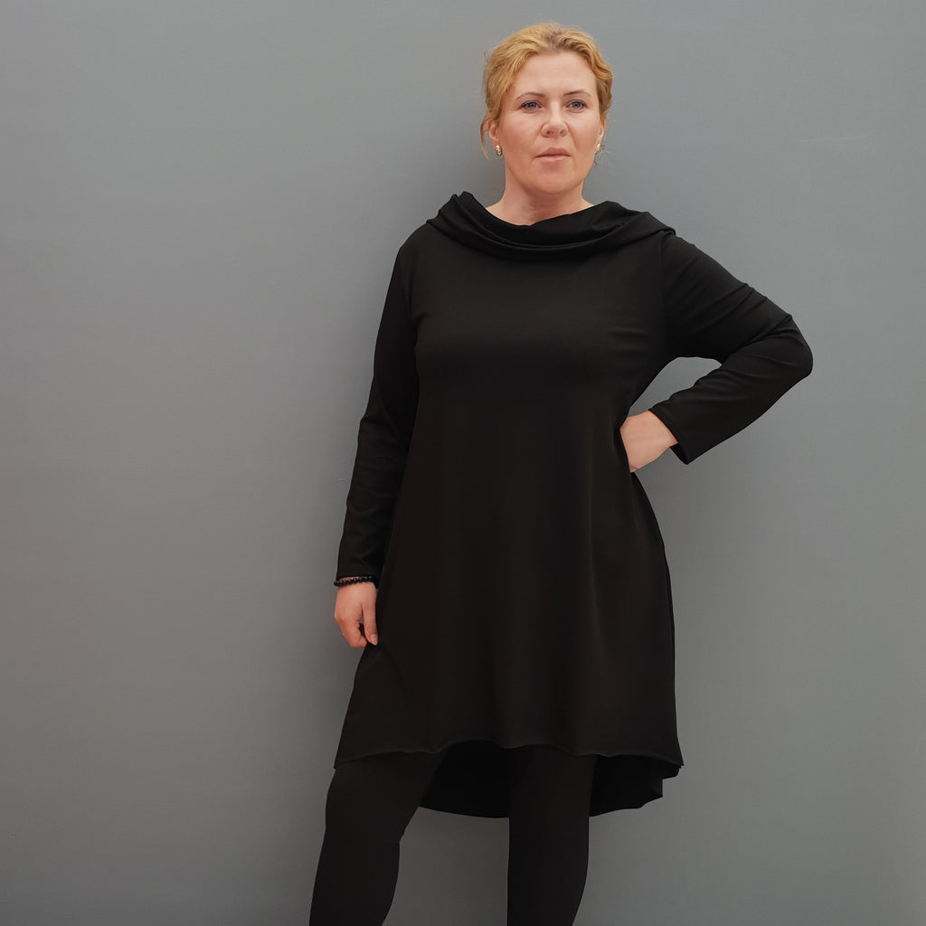 Womens 95% ORGANIC COTTON tunic top plain lagenlook loose long sleeve [L1090_BLACK]