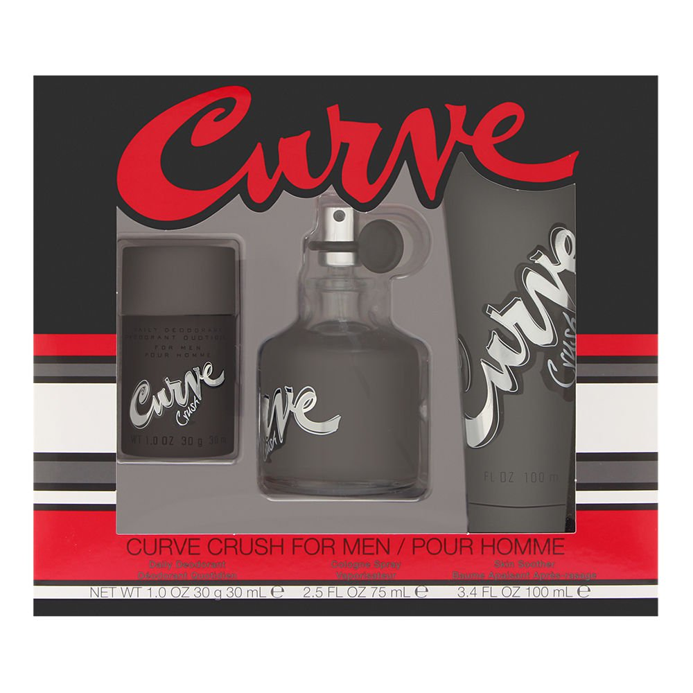 Curve Crush by Liz Claiborne for Men 3 Piece Set Includes: 2.5 oz Cologne Spray + 3.4 oz Skin Soother + 1.0 oz Daily Deodorant Stick