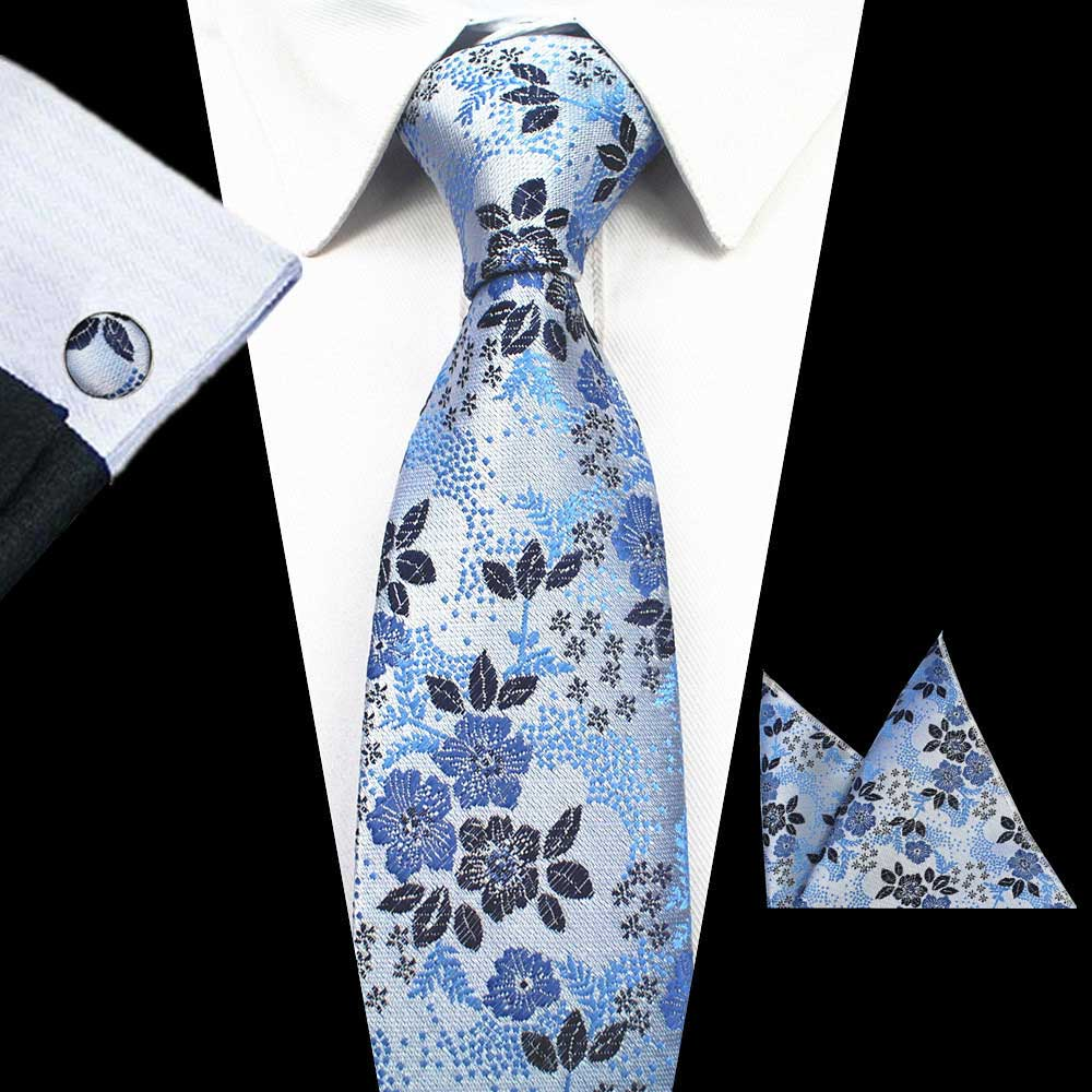 Baby Blue Flowers Tie Handkerchief Cufflink Set