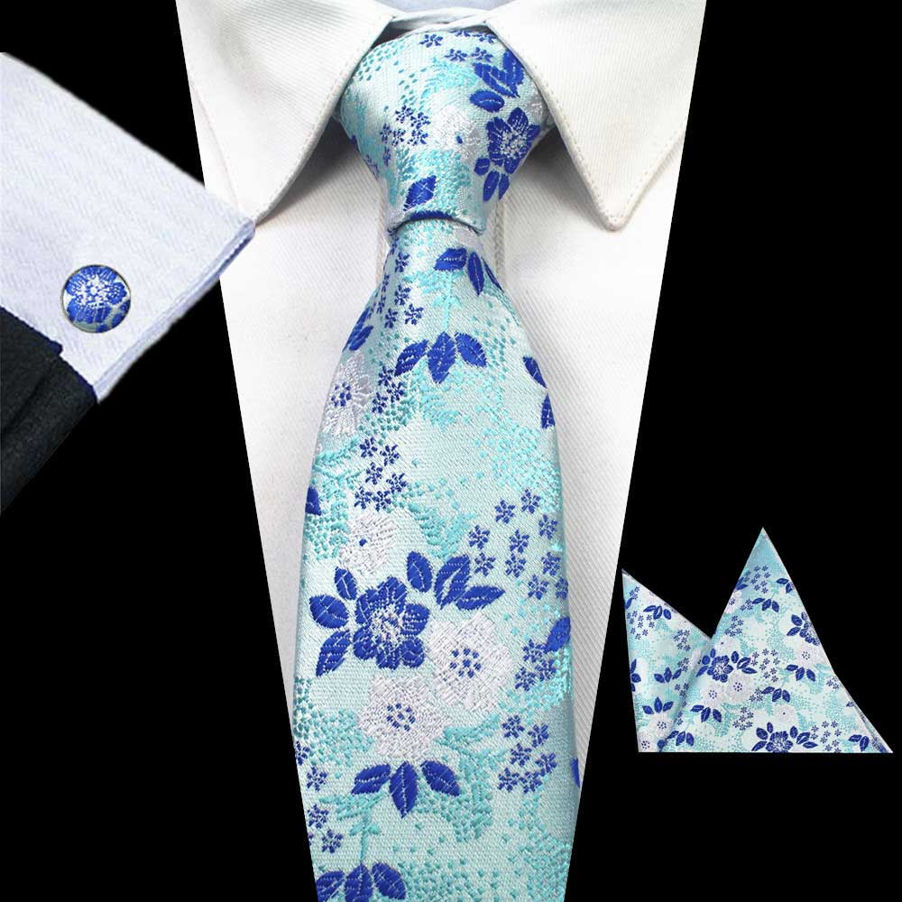Green Blue Flowers Tie Handkerchief Cufflink Set