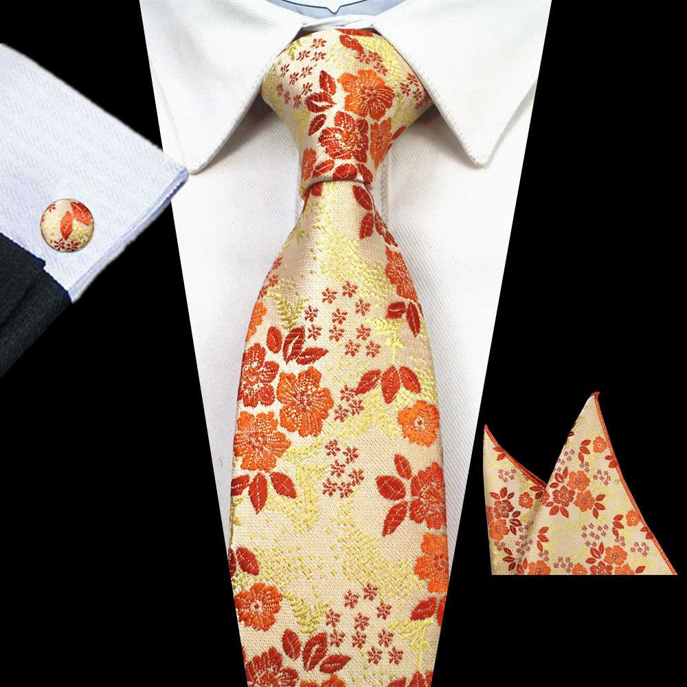 Orange Yellow Flower Tie Handkerchief Cufflink Set