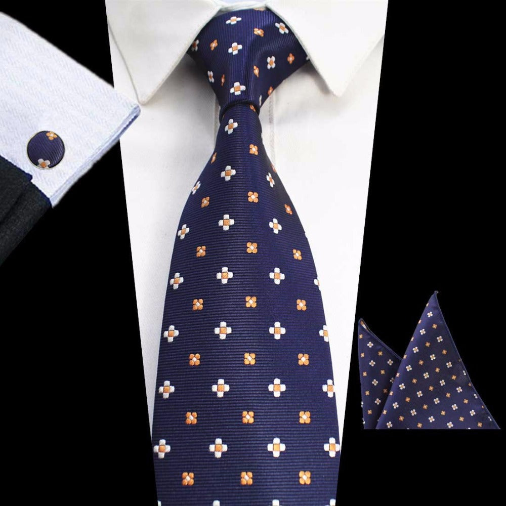 Navy Orange Dots Tie Handkerchief Cufflink Set