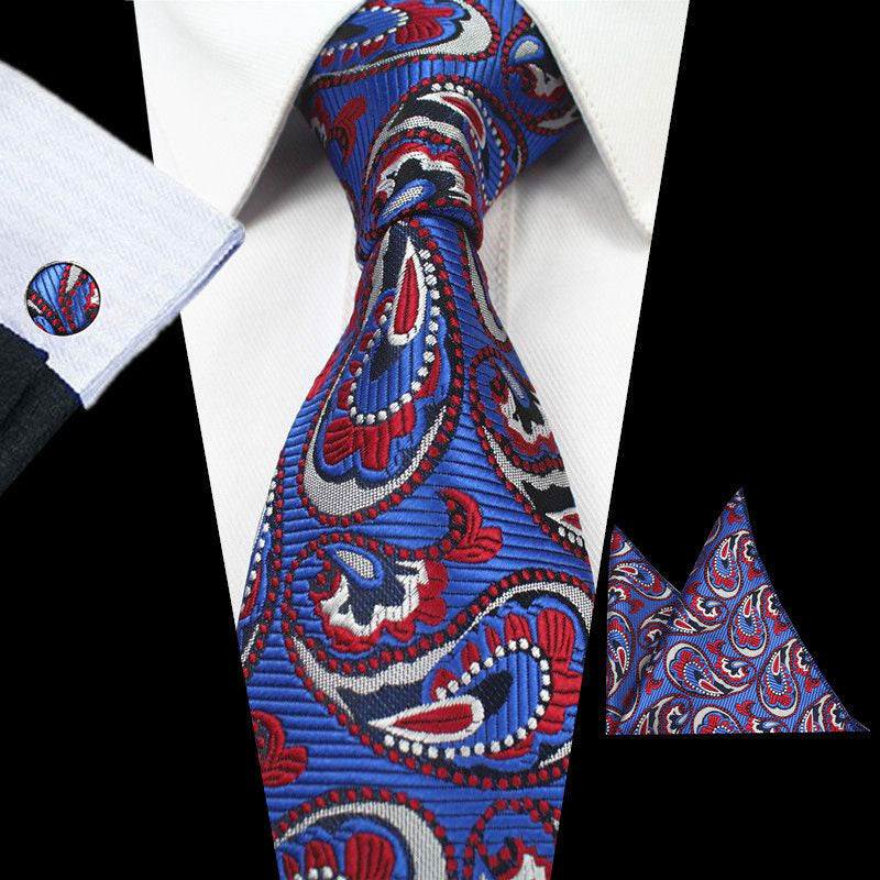 Blue Red Paisley Tie Handkerchief Cufflink Set