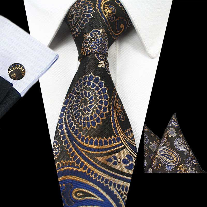 Brown Orange Paisley Gravata Tie Handkerchief Cufflink Set