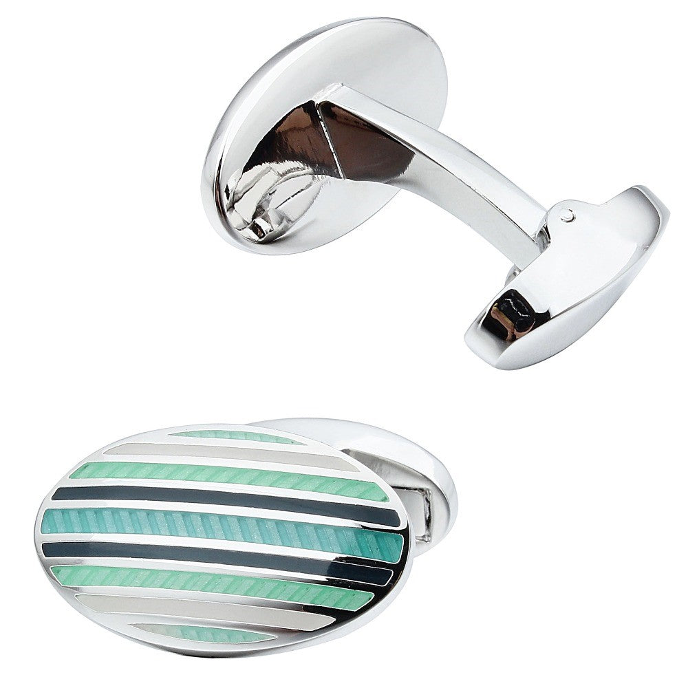 Green Oval Enamel Cufflinks