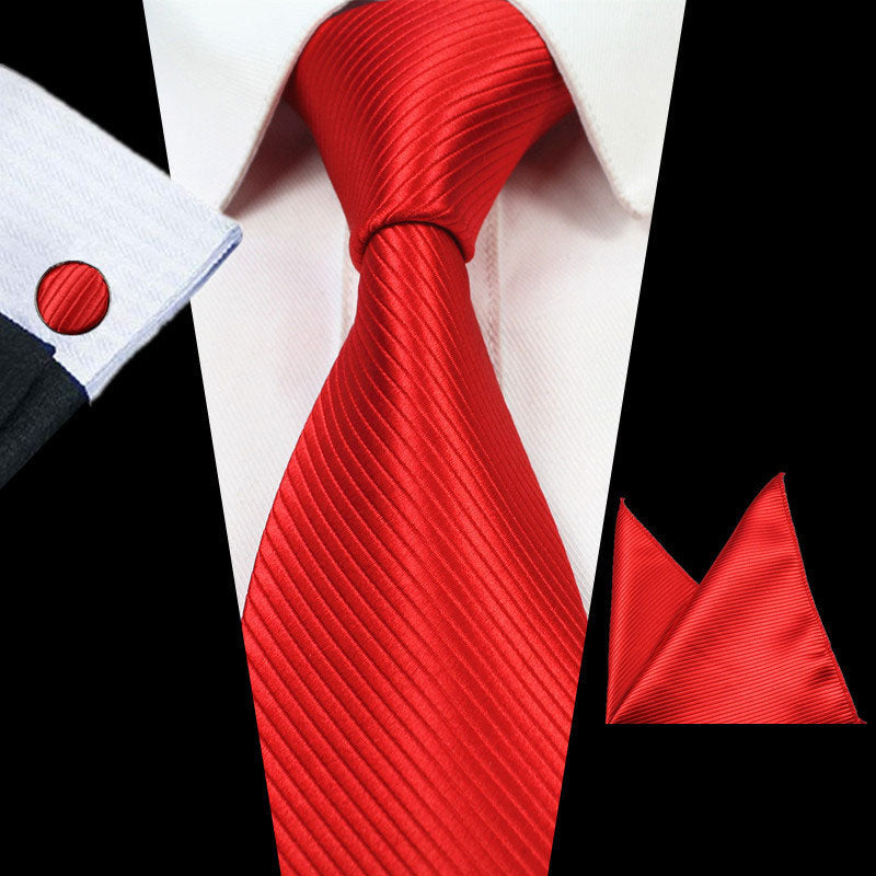 Solid Red Stripes Tie Handkerchief Cufflink Set