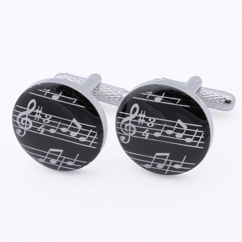 Round Music Notes Cufflinks
