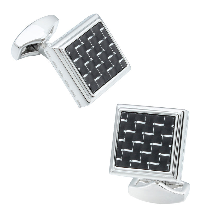 Black Carbon Fiber Metal Silver Cufflinks