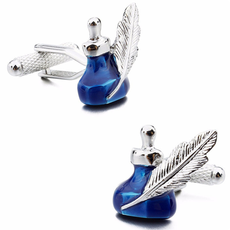 Ink Bottle And Quill Cufflinks