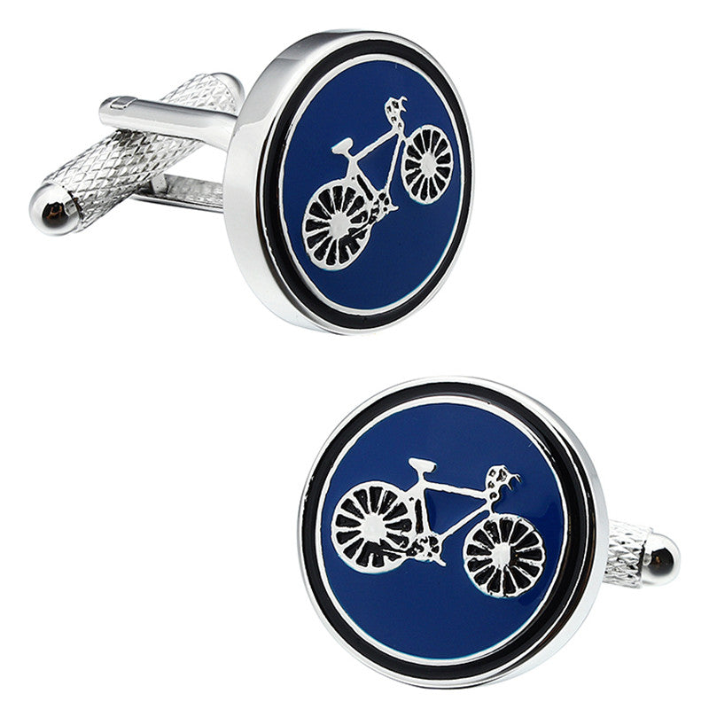 Round Bicycle Pattern Cufflinks
