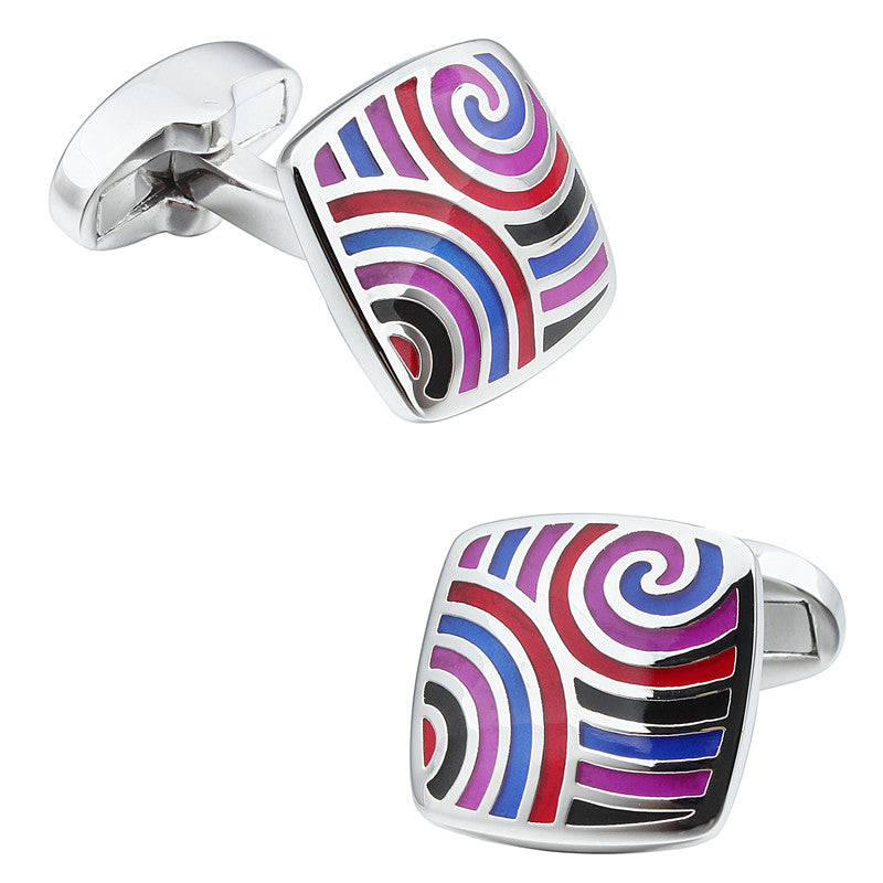 Purple and Blue Square Enamel Cufflinks