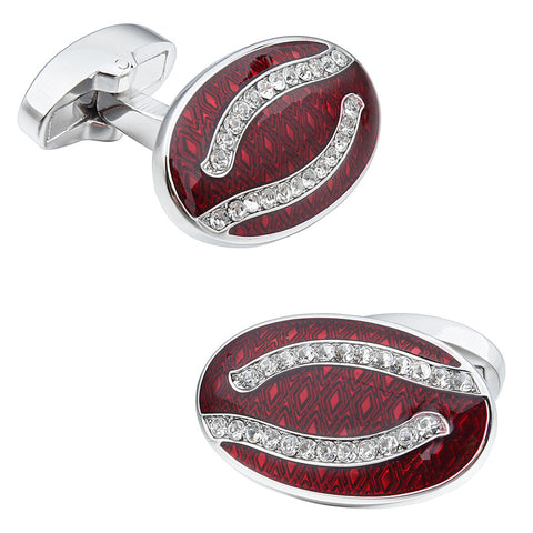 Red Oval Luxury Crystal Cufflinks