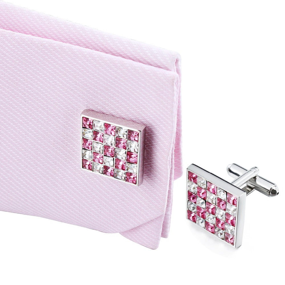 Pink & White Crystal Cufflinks
