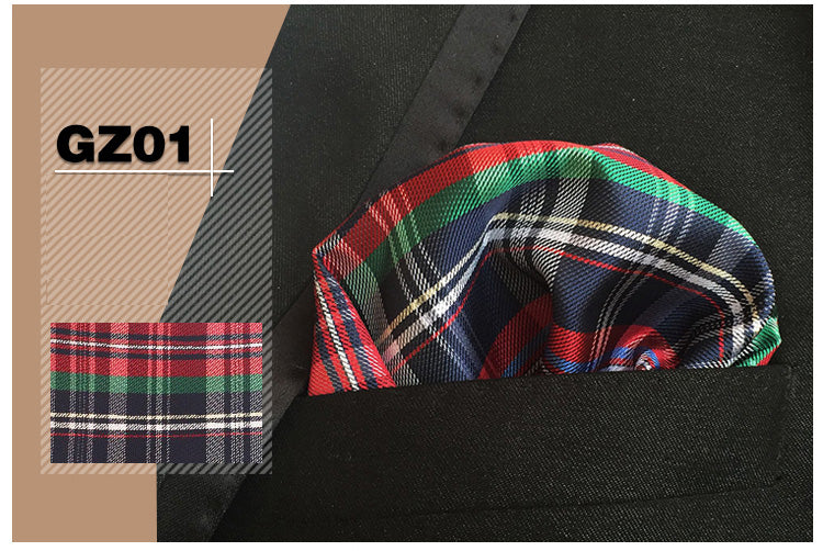 100% Silk Rainbow Plaid Pocket Square