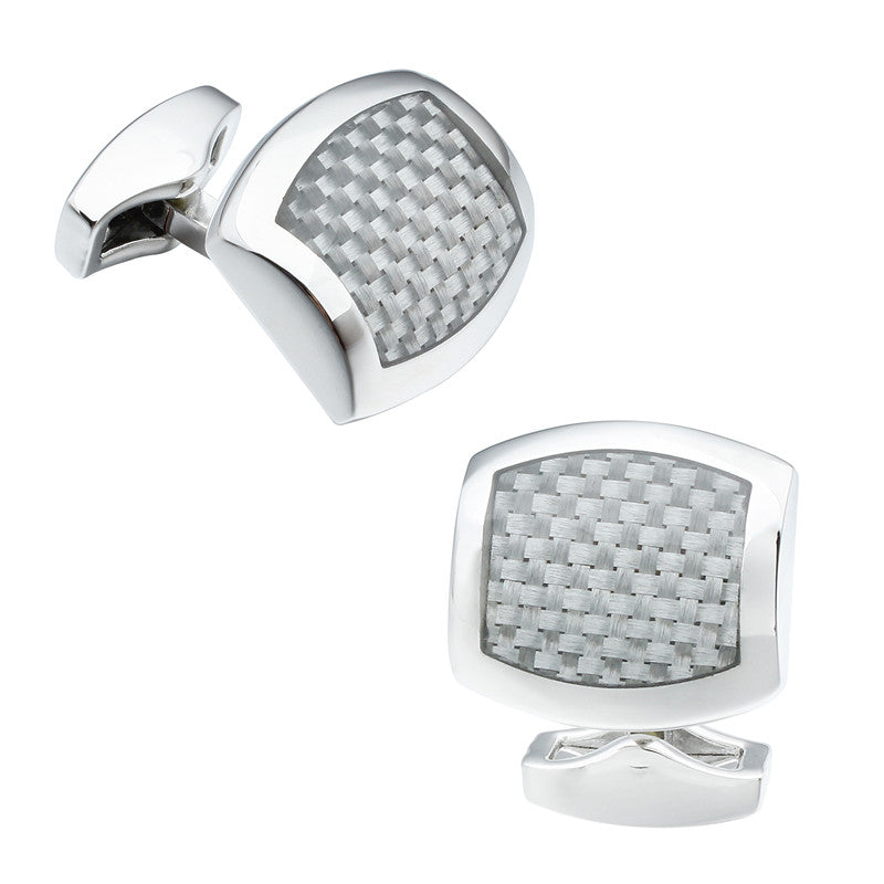 Irregular Shape Gray Carbon Fiber Cufflinks
