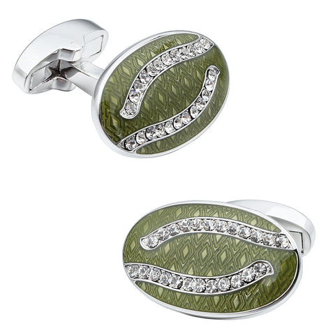 Green Oval Luxury Crystal Cufflinks