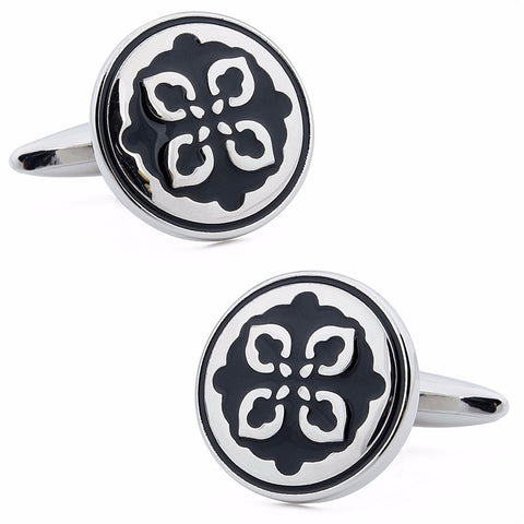 Black Enamel Retro Cufflinks