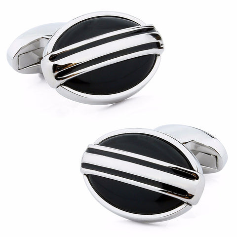 Black Oval Stone Cufflinks