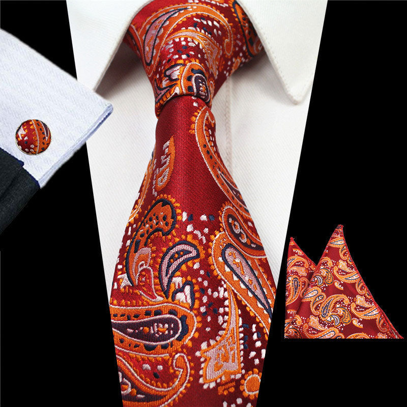 Red Orange Paisley Tie Handkerchief Cufflink Set