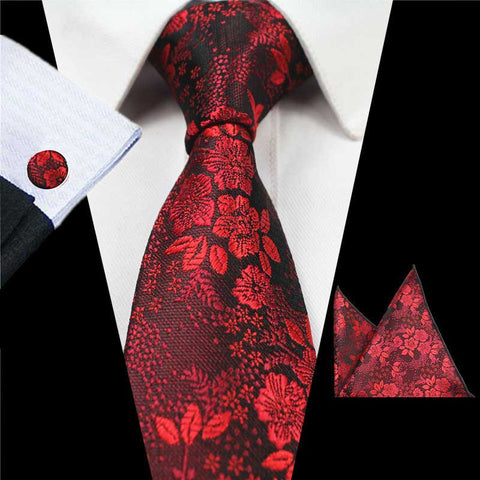 Red Flowers Floral Tie Handkerchief Cufflink Set