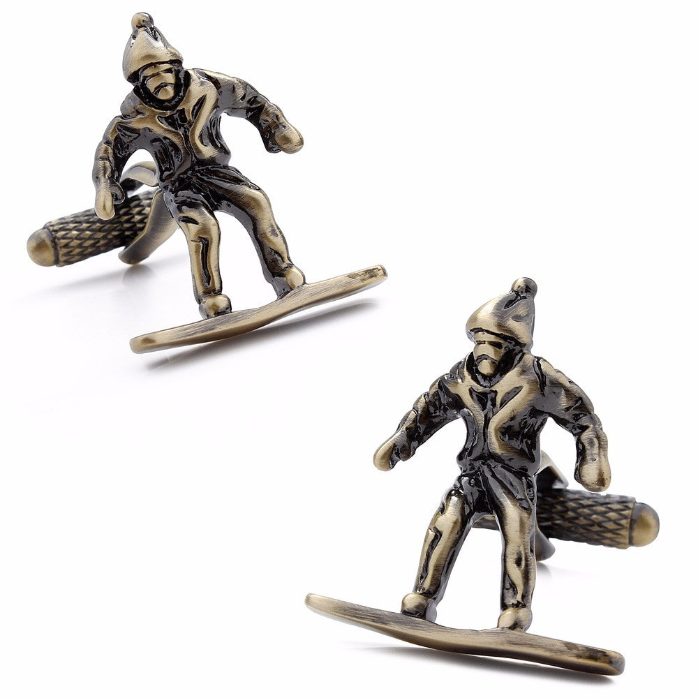 Bronze Skiing Cufflinks