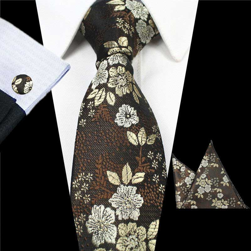Brown Gray Flowers Tie Handkerchief Cufflink Set