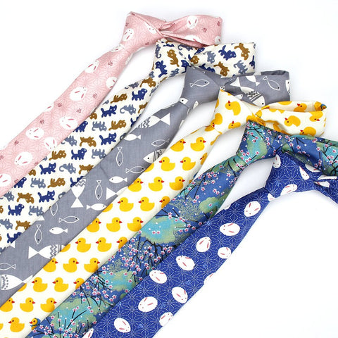 Cotton Animal Print Skinny Ties