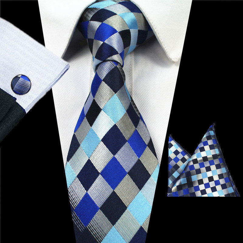 Blues Plaids Gravata Tie Handkerchief Cufflink Set