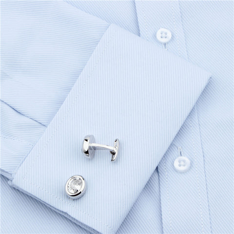 Silver White Zircon Cufflinks