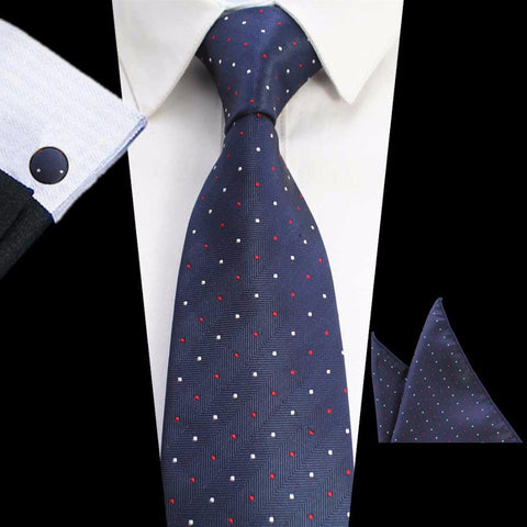 Blue Stripe Red Dots Tie Handkerchief Cufflink Set