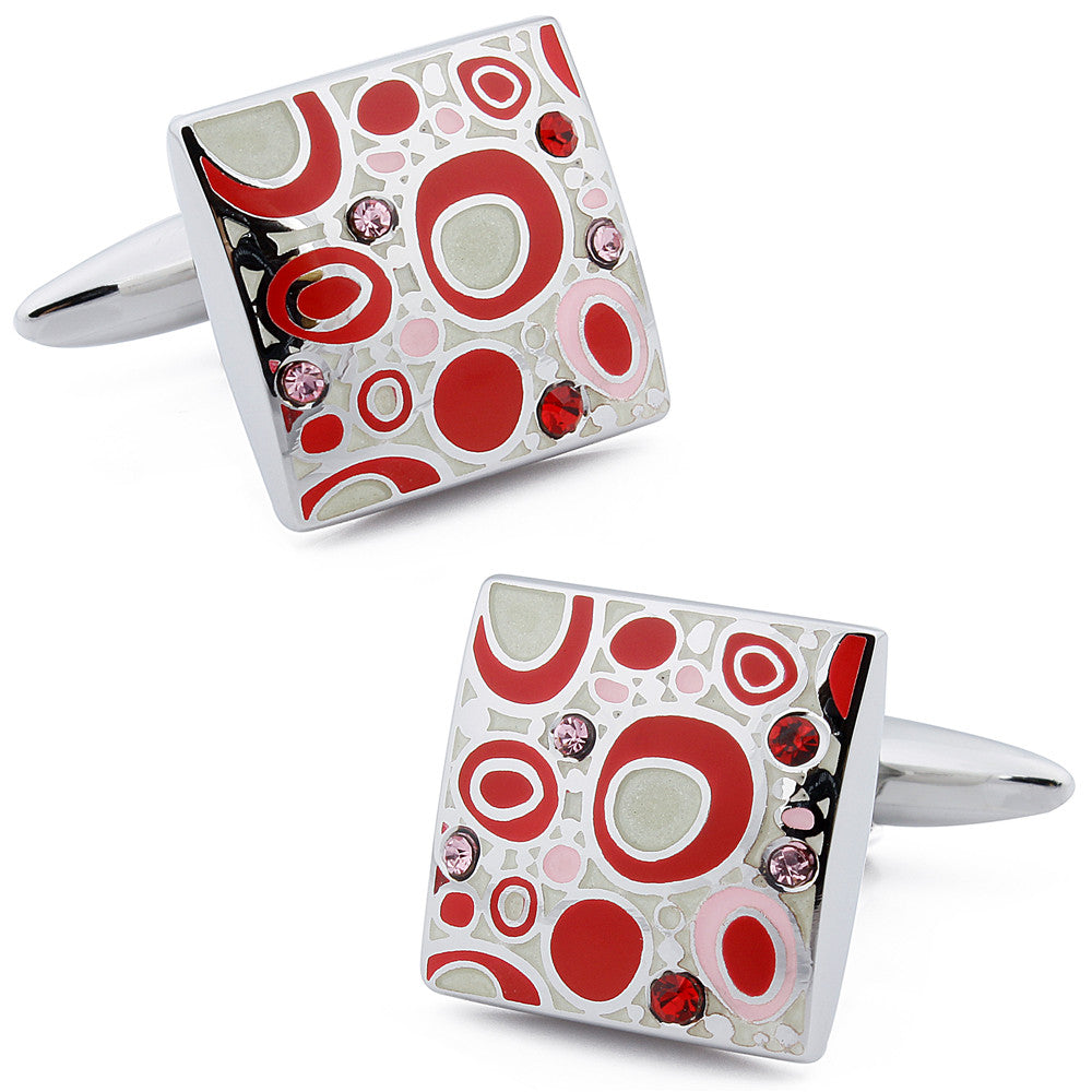 Red Crystal Enamel Cufflinks