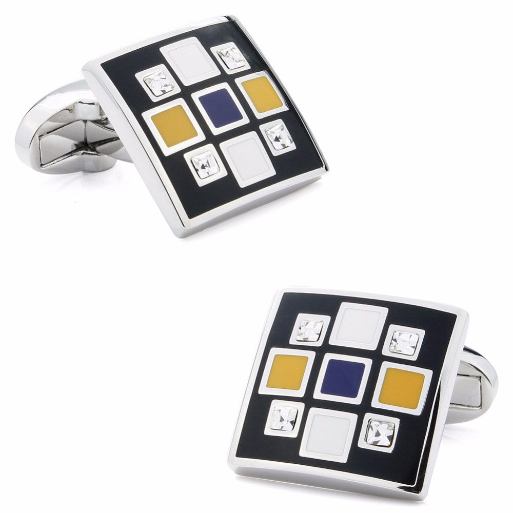Yellow Enamel Crystal Square Cufflinks
