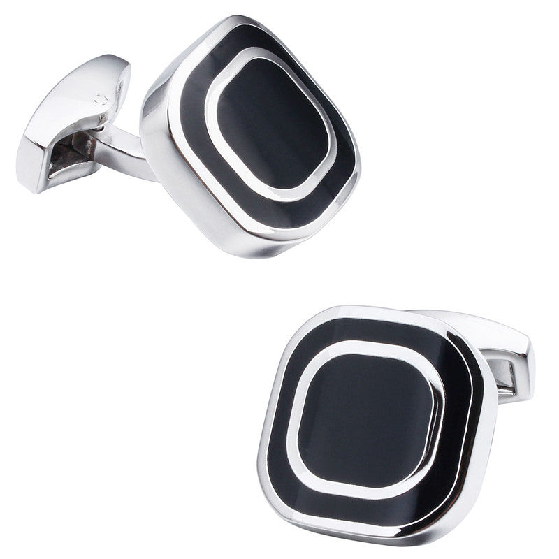 Black Enamel Square Cufflinks