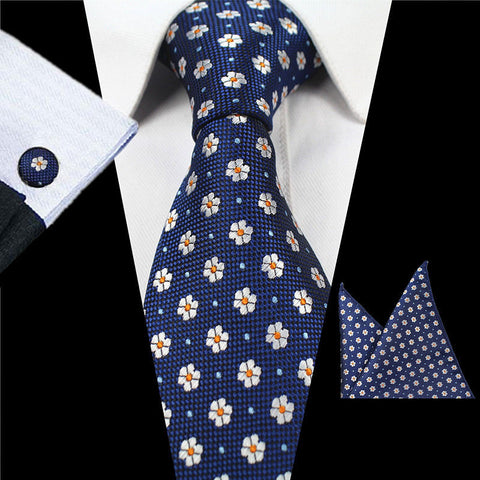 Navy Blue Beige Dot Tie Handkerchief Cufflink Set