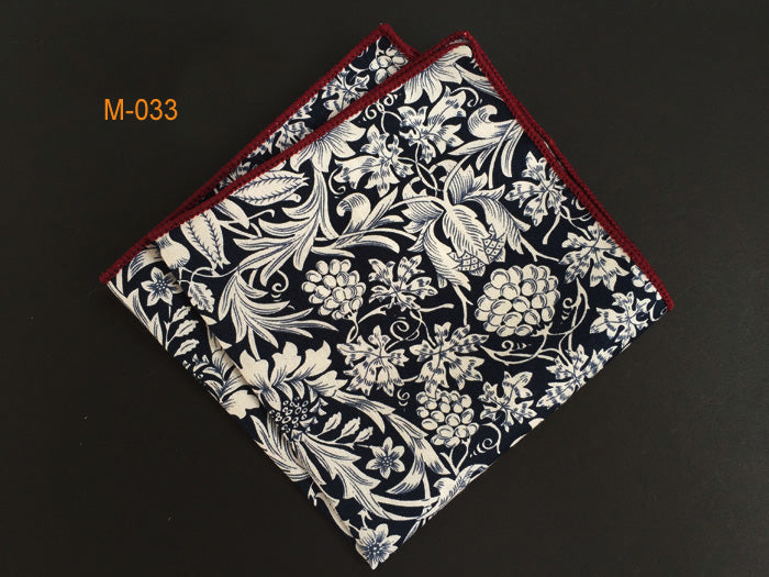 Black White Print Floral Cotton Pocket Square